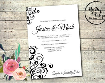 Black and White Swirl - Wedding Invitation