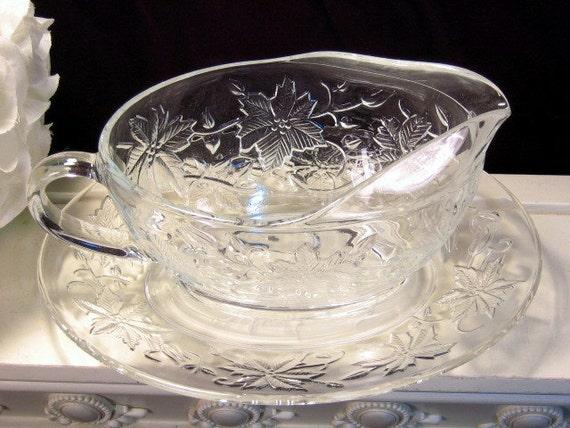& Vintage Princess House Crystal Fantasia Glass Gravy Sauce