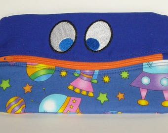 SMILING FUNNY EYES Pencil or Phone Case with Spaceships and Planets 100% cotton fabric nylon zipper closure