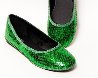 Sequin - Kelly Green Ballet Flat Slippers Shoes