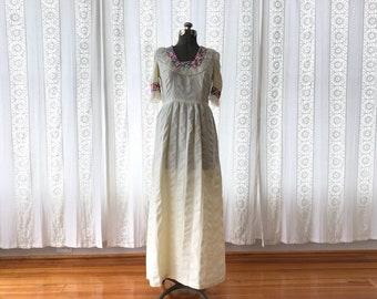 70s empire waist maxi dress // Boho goddess maxi dress // Embroidered lace maxi