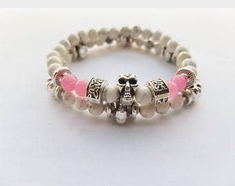 Duo bracelet Pearl semi precious duo skull pink and white Bead Bracelet