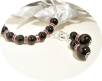 Black Red Jewelry Set, Bracelet Earrings, Red Black, Bangle Bracelet, Bridesmaid Gift, Black Pearl Jewelry, Pearl Rhinestone, Drop Earrings