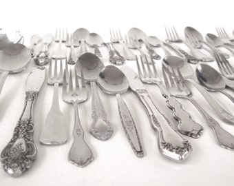 Stainless Silverware Set Mismatched Flatware Cottage Chic Service for 12, 8, 4 or more, Unique, Complete Full Set or Individual Pieces