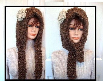 "Hat knitting Pattern, Handmade patterns,  Hood with ties, ""Ginger"", women, children, girls, teens, kids, Num. 508, clothing, accessories,"