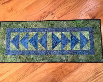 Blue and Green Flying Geese Tablerunner