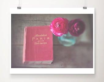 paris photograph paris print paris decor pink ranunculus photograph pink flower photograph travel book photograph travel photography