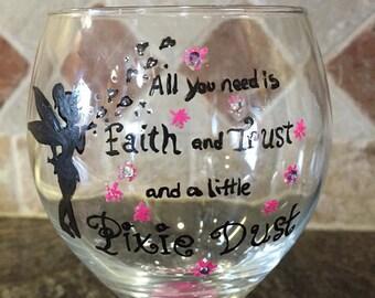 Tinkerbell Wine Glass