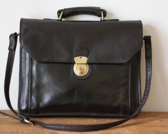 Vintage WILSONS LEATHER Leather Messenger Briefcase / Mahogany Brown Black Leather Attache Laptop Bag 070717-19