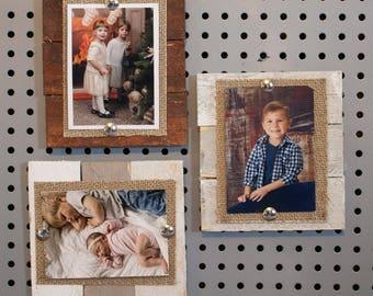 "Rustic Wallet Photo Frame, Wedding Wallet Picture Frame, Wallet Size Magnet Frame, Magnet Photo Frame, Wallet Size, 2.5x3.5"" Wood Frame"