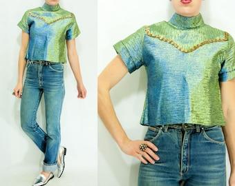 70's Vintage Iridescent Sparkly Sequin Western Blouse / Mock Neck Shirt / Turtleneck Crop Top