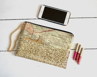 Map Clutch Gold Clutch Travel Clutch World Map Clutch Bridesmaid Clutch Makeup Bag Gold Wristlet Gold Handbag Sparkly Clutch Everyday Clutch