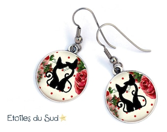 Silhouette couple cats and flowers, hypoallergenic, ref.45 hooks earrings