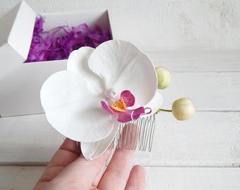 Floral orchid hair pin Flower orchid hair comb White tropical flower Hawaiian bridal hair piece Hawaii headpiece Orchid hair accessories