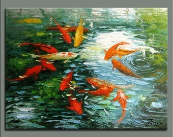 original painting,hand oil painting,impasto,hand oil on canvas,framed,ready to hang,huge 30''x40''  palette knife painting koi fish-OR73