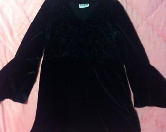 90s Vintage Black Velvet Dress, Black Velvet Vintage Dress