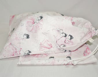Dance Shoe Bags 10 x 15.5 Inches Drawstring Ballet Shoe Bags in Toile Ballet Print Cotton Fabric