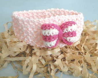 Baby Headband with Bow, ear warmer, Newborn to 3 plus Months, Stretch Headband, Handmade, Ready to Ship