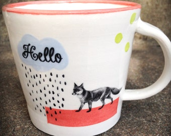 Ceramic Mug with Fox, Rain Cloud, and Polka Dots