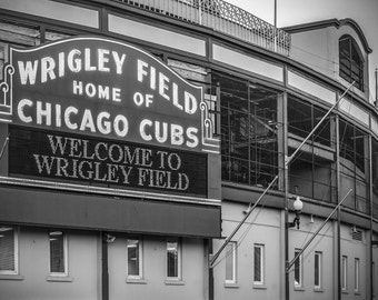 Chicago Cubs Canvas, Wrigley Field Canvas, Chicago Cubs Photo Art Gift, Black and White, Retro Neon, Chicago Icon, Man Cave, Baseball Art