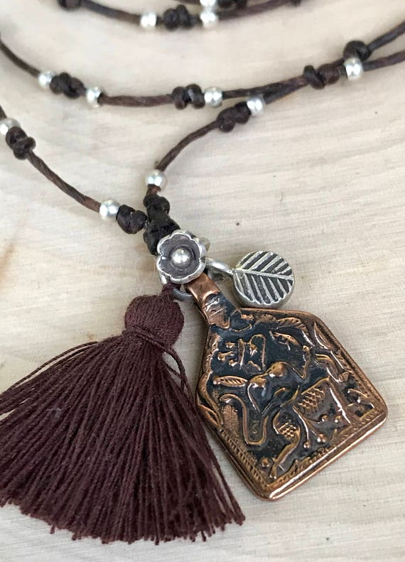 Boho Leather Necklace - Hanuman Charm Necklace - Yoga Jewelry - Spiritual Gift - Leather Wrap Bracelet - Long Tassel Necklace