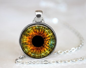 Yellow Eye Photo Glass Pendant/Necklace/Keychain