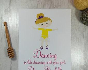 Girls Room Decor Personalised Dancing Girl Print | Birthday Gift | Flower Girl Gift | Personalised Gift | Nursery Decor | Motivational Print