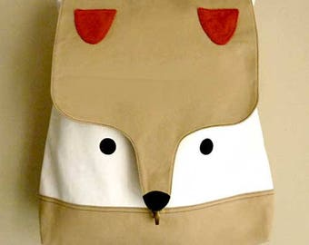 Beige Cream Fox Backpack ON SALE Cute Fox Laptop Padded Backpack Diaper Backpack Vegan Fabric Travelling Backpack Women Men Teens Backpack