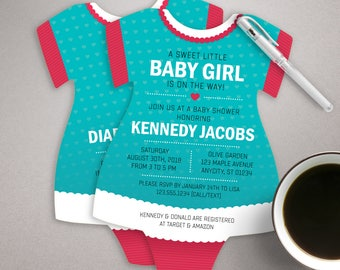 baby girl shower invitation, Baby Shower Invitations, Aqua Dress Invites, Snapsuit shaped, printed invitations, Romper Invite, hearts