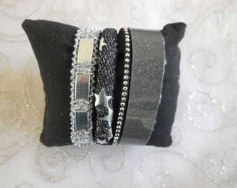 Black and silver Cuff Bracelet