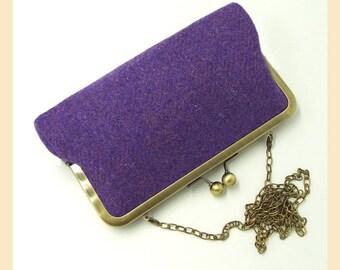 Harris Tweed clutch, purple Harris Tweed shoulder bag, tweed evening bag, purple clutch bag, Harris Tweed bag, winter wedding