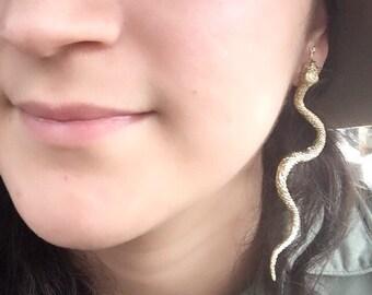 Snake earring, statement jewelry, handmade snake