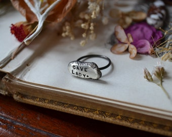 Cave Lady Molten Silver Ring