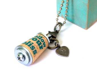 FOLLOW YOUR BLISS Necklace - Cork in Test Tube - Custom Stamped Initial Charm by Uncorked