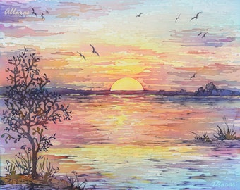 "Sunset Painting on Silk. Original Painting. Landscape Silk Painting. Unique art gift. Batik Art. 25 X 30 cm.(10"" X 12"") Reflections Painting"