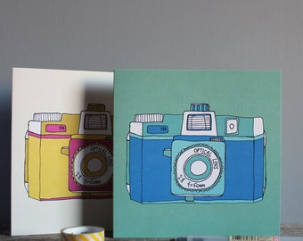 Holga Camera Greetings Card - Blue Camera - Retro Camera Card - Photography Card - Photography Lover Card