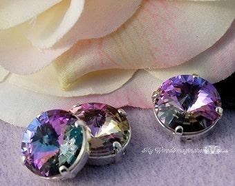 12mm Swarovski Crystal, Vitrail Light Rivoli 1122, With Prong Setting, Genuine Swarovski, Jewelry Beading Crafts, Crystal Rhinestone Setting