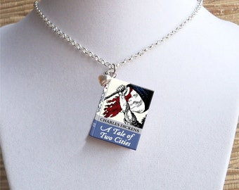 A Tale Of Two Cities with Tiny Heart Charm - Miniature Book Necklace