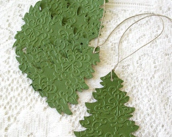 Embossed Holiday Tags  - Handmade Rustic Christmas Tree Gift Tags - 6 Double Layer Holiday Tags - Christmas Gift Wrap
