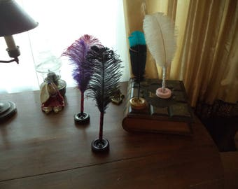Feather Quill Pen Stand Two-Toned Painted