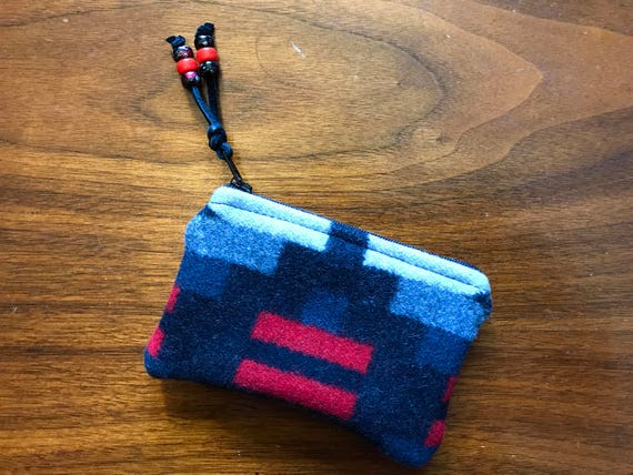 Wool Coin Purse / Phone Cord / Gift Card Holder / Zippered Pouch Black & Red