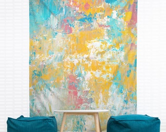 Winter Sunrise Hanging Wall Tapestry. Home Decor, Dorm, Abstract Painting, Contemporary Modern Art, Headboard Tapestry, Pastel Wall Decor