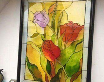 Tulips Glass Painting/Glass Art/ Hanging Art/ Framed Art/ Framed Painting/ Colourful Painting