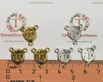 16 pcs per pack 11mm J Cross R coin Rosary Center Antique Gold Lead free Pewter