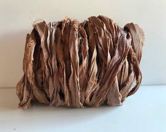 Recycled Sari Ribbon-Light Brown Sari Silk Ribbon-10 Yards