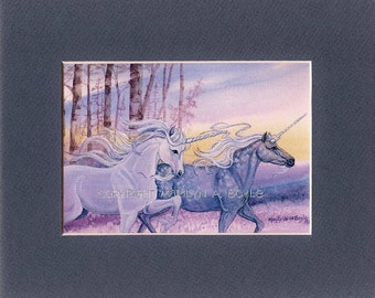 MATTED PRINT - FANTASY; 8 x 10 matted, unicorns, running, wall art,