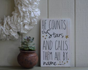 READY TO SHIP,He Counts The Stars And Calls Them All By Name,Nursery Decor, Nursery Wall Art, Nursery Wall Art,Baby Gift, Baby Shower Gift