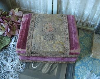 Antique Velvet Box, Victorian Velvet Box, Velvet Jewelry Box, Velvet Trinket Box, Antique Tapestry Box, Rose Velvet Box, Gifts For Brides