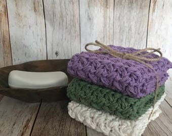 Washcloth, Dishcloth, Cotton Washcloth, Set of 3, Ready to Ship