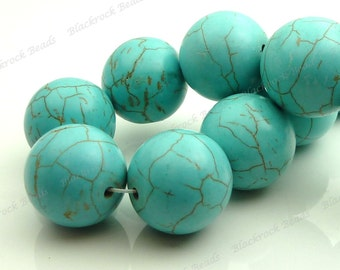20mm Turquoise Blue Magnesite Round Gemstone Beads - 10pcs - Large Focal Beads - BF36